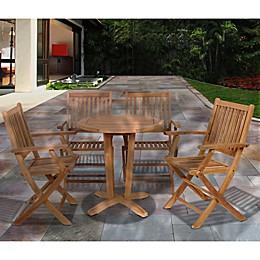 Amazonia Kansas 5-Piece Round Teak Wood Outdoor Patio Dining Set