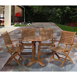 Amazonia Aruba 5-Piece Round Teak Wood Outdoor Patio Dining Set