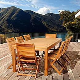 Amazonia Bradley 9-Piece Rectangular Teak Wood Outdoor Patio Dining Set