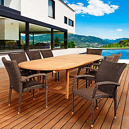 Amazonia Ocean Grove 9-Piece Double Extendable Outdoor Oval Dining Set in Brown/Grey