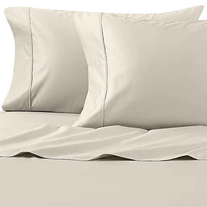 Alternate image 1 for Wamsutta® PimaCott® Solid 625-Thread-Count Twin XL Sheet Set in Light Green
