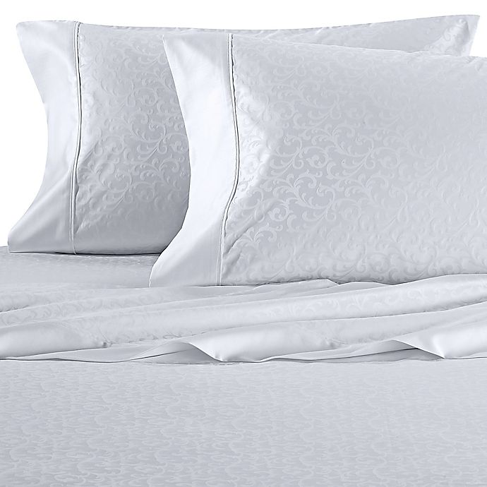 Alternate image 1 for Wamsutta® Dream Zone® PimaCott® Scroll 625-Thread-Count Standard Pillowcase Set in White