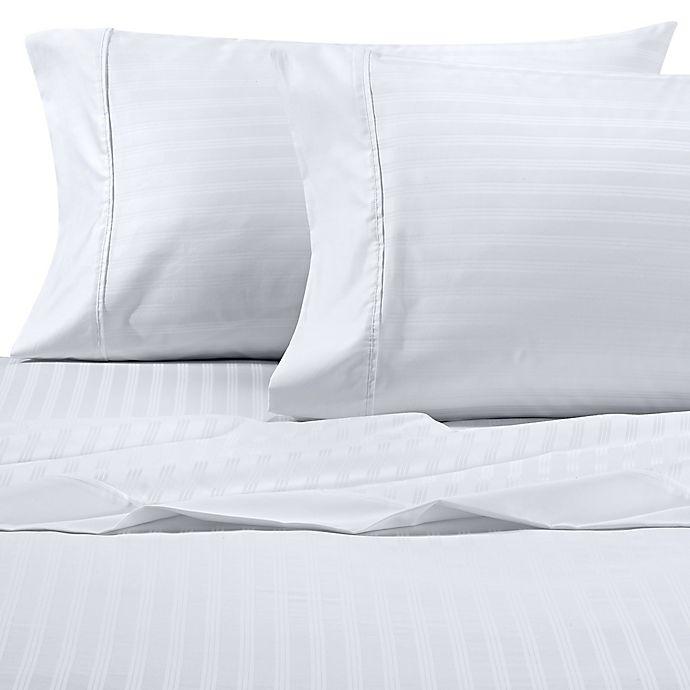 Alternate image 1 for Wamsutta® Dream Zone® PimaCott® Stripe 625-Thread-Count Queen Sheet Set in White