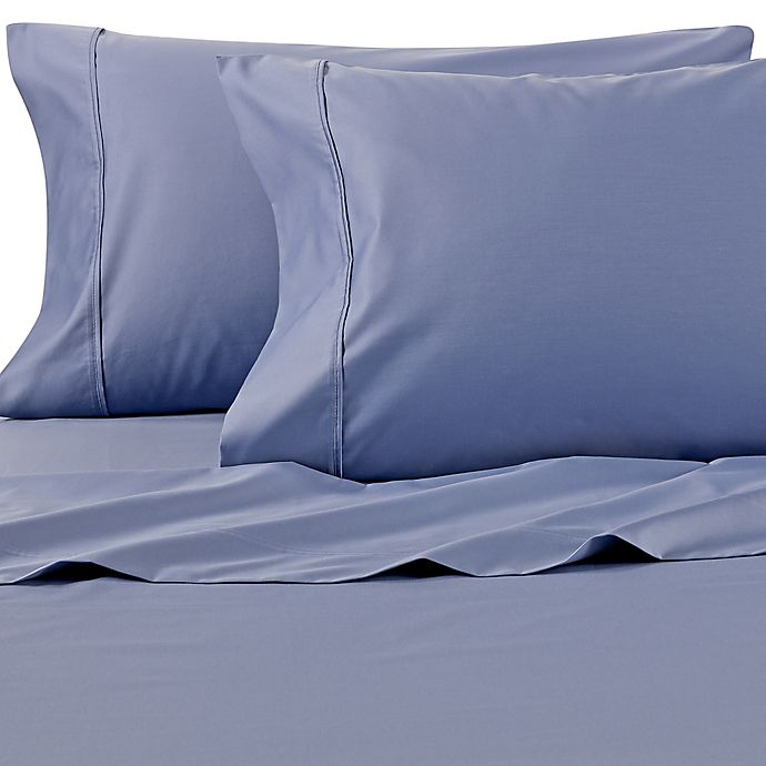 Alternate image 1 for Wamsutta® PimaCott® Solid 625-Thread-Count Standard Pillowcase Set in Blue Jean
