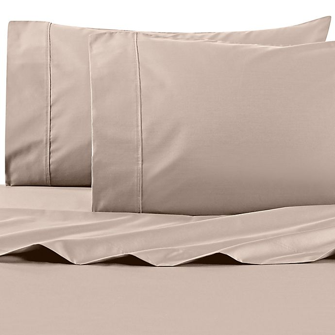 Alternate image 1 for Wamsutta® PimaCott® Solid 625-Thread-Count King Pillowcase Set in Taupe