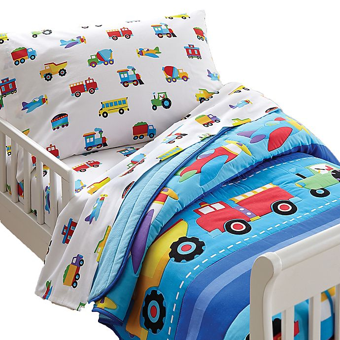 Alternate image 1 for Olive Kids Trains, Planes, Trucks Toddler Sheet Set
