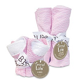 Trend Lab Gingham Seersucker Bib and Burp Cloth Bouquet Gift Set in Pink