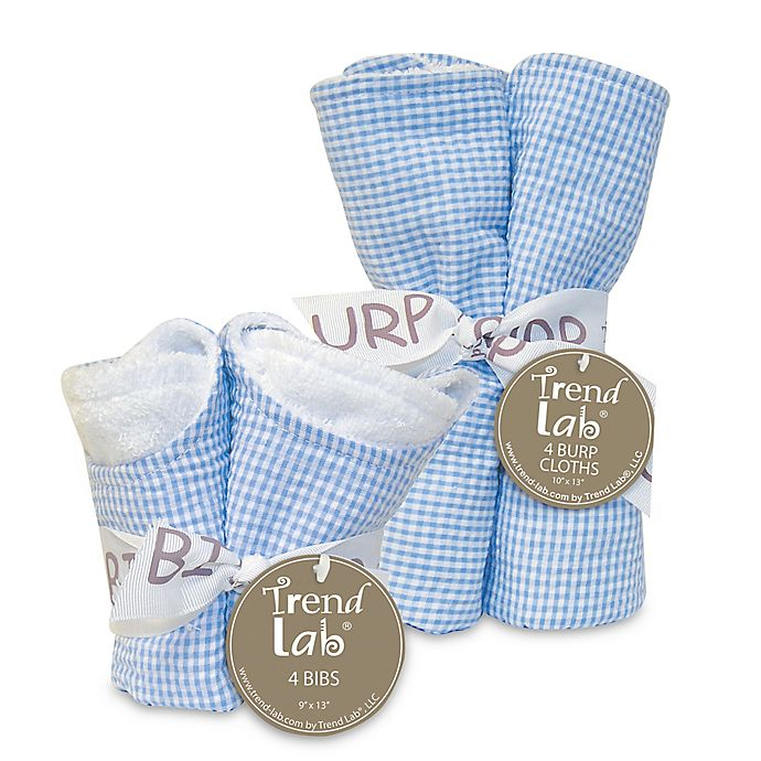 Alternate image 1 for Trend Lab Gingham Seersucker Bib and Burp Cloth Bouquet Gift Set in Blue