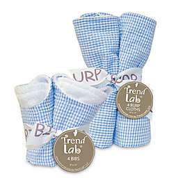 Trend Lab Gingham Seersucker Bib and Burp Cloth Bouquet Gift Set in Blue