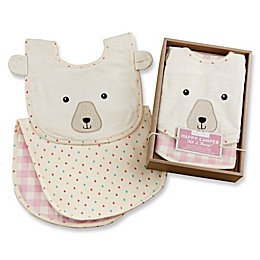 Baby Aspen Happy Camper Size 0-6M 2-Piece Bib And Burp Cloth Set in Pink Plaid