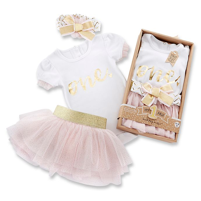 Alternate image 1 for Baby Aspen 12-18M My First Birthday 3-Piece Tutu Outfit in Pink