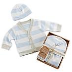 Baby Aspen Size 0-6M Blue Stripe Cardigan and Cap Set