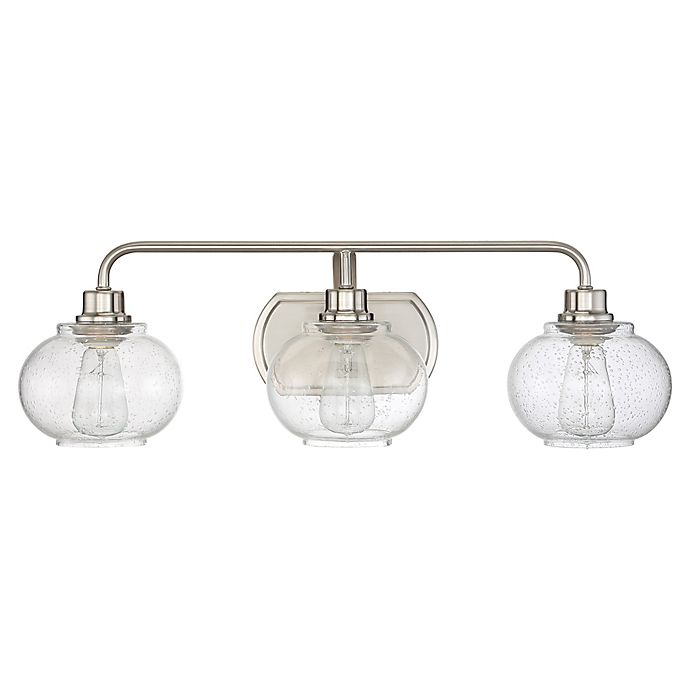 Alternate image 1 for Quoizel® Trilogy 3-Light Wall-Mount Bath Fixture in Brushed Nickel with Glass Shades