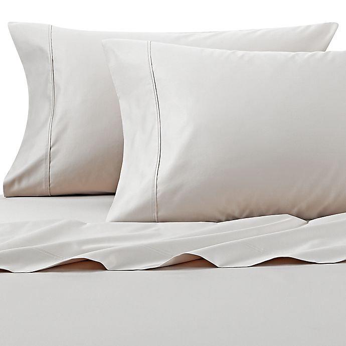 Alternate image 1 for Wamsutta® PimaCott® Solid 625-Thread-Count Standard Pillowcase Set in Stone