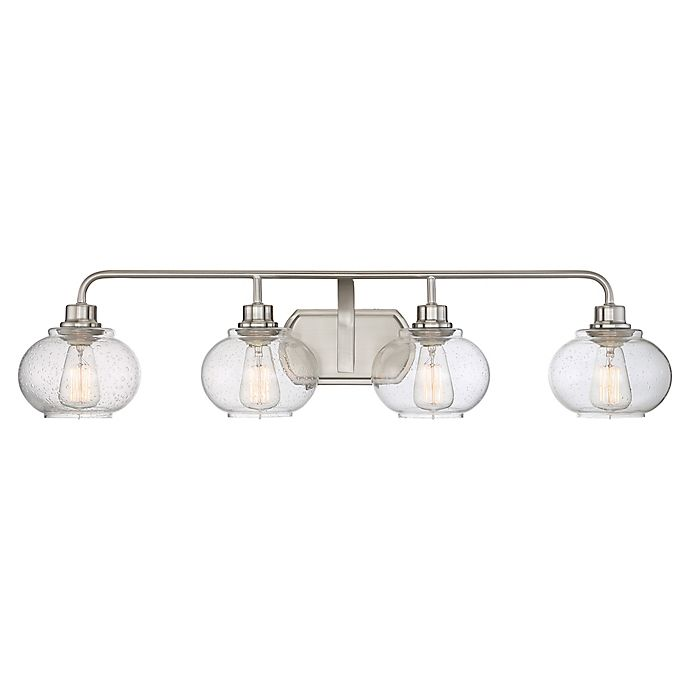 Alternate image 1 for Quoizel® Trilogy 4-Light Wall-Mount Bath Fixture in Brushed Nickel with Glass Shades