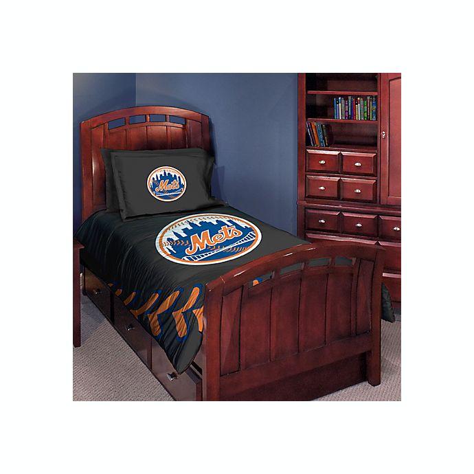 . Major League Baseball Twin Full Comforter Set   New York Mets   Bed