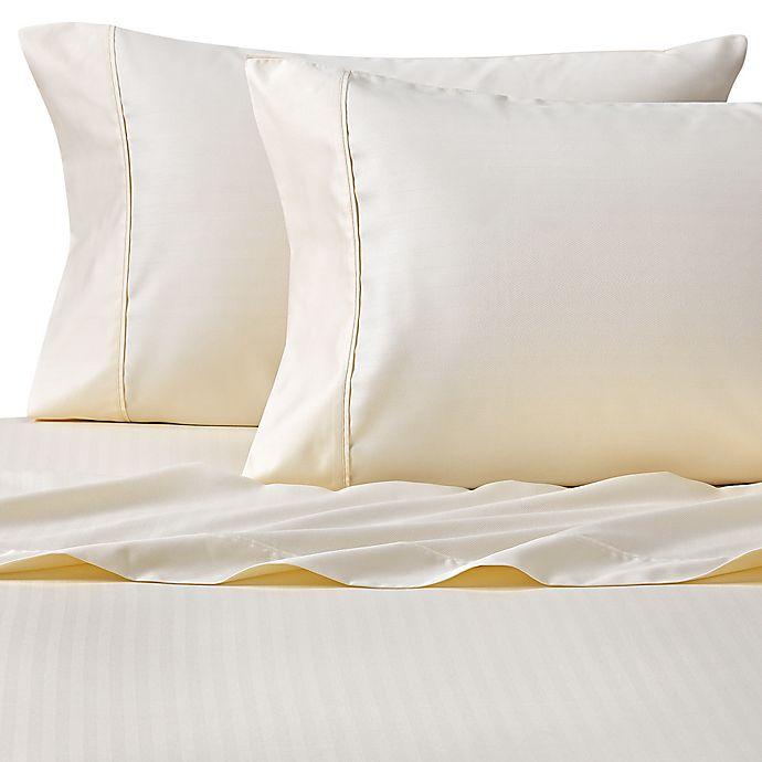 Alternate image 1 for Wamsutta® 625-Thread Count PimaCott® Herringbone Stripe California King Sheet Set in Ivory