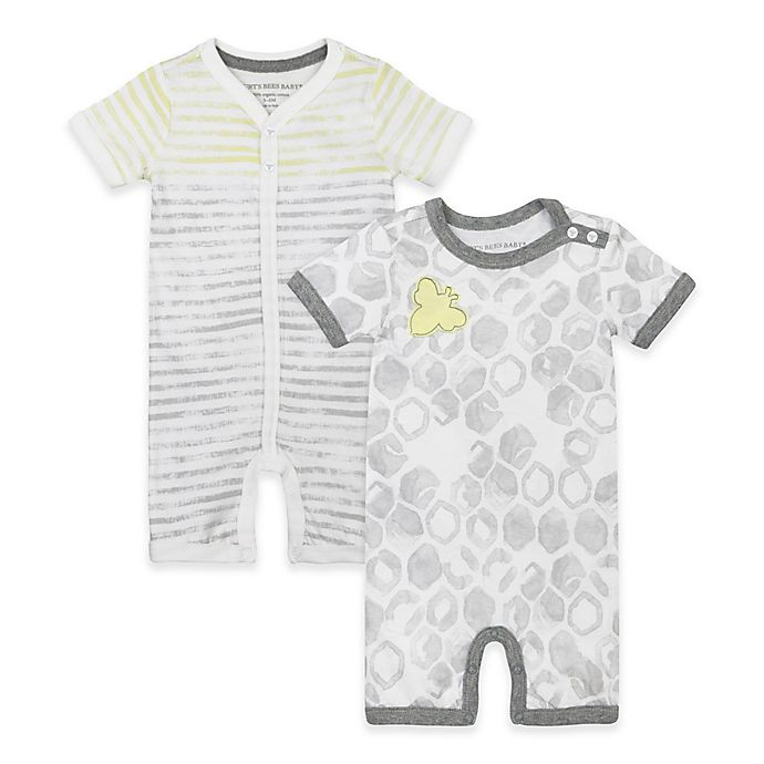 10cb5e20a8a2 Burt s Bees Baby® 2-Pack Bee Hive Stripes Organic Cotton Rompers in ...