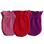 Sozo® Girls' 3-Pack Striped Scratch Free Mittens