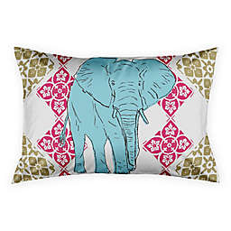 Boho Elephant Tile King Pillow Sham in Pink