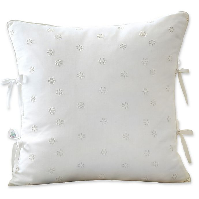 Alternate image 1 for Sanderson Amelia Rose Snowbell Eyelet Throw Pillow in Ivory