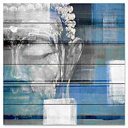 "Parvez Taj ""Blue Buddha"" 32-Inch x 32-Inch Wood Wall Art"