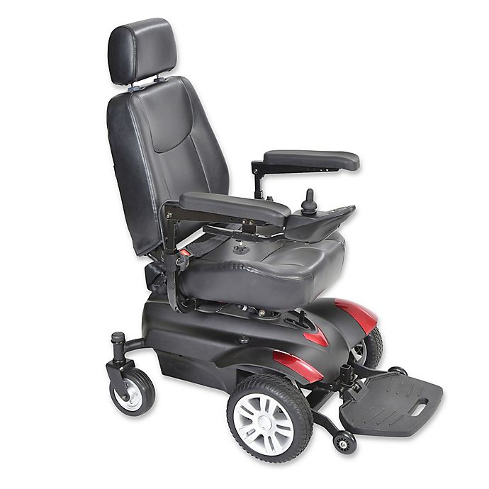 Alternate image 1 for Drive Medical Titan Front-Wheel Power Wheelchair with 18-Inch x18-Inch Captain's Seat in Red