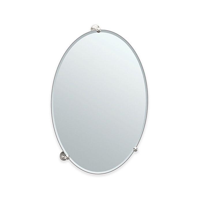 Alternate image 1 for Gatco® Oldenburg 26.5-Inch x 19.5-Inch Oval Frameless Mirror in Satin Nickel
