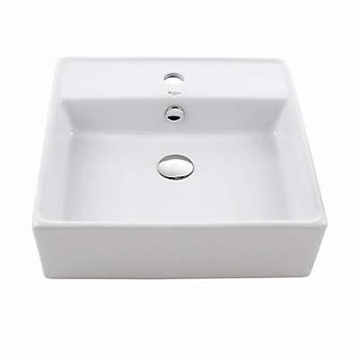 Kraus KCV-150 Square 18.5-Inch Ceramic Vessel Sink in White