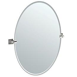 Gatco® Elevate 32-Inch x 28.25-Inch Oval Frameless Mirror in Satin Nickel