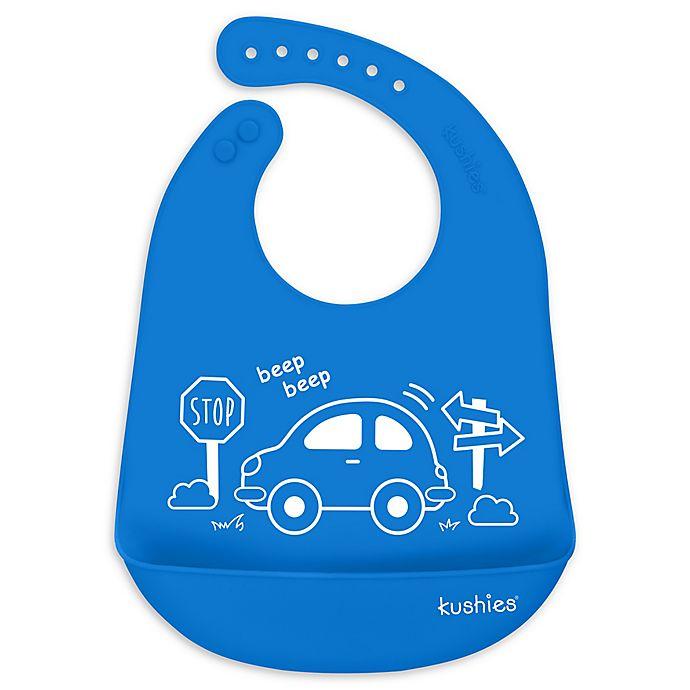 Alternate image 1 for Kushies® My Car Silicatch Bib in Blue