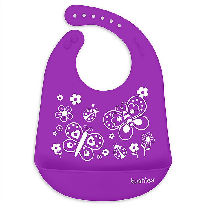 Alternate image 1 for Kushies® Butterfly Kiss Silicatch Bib in Purple