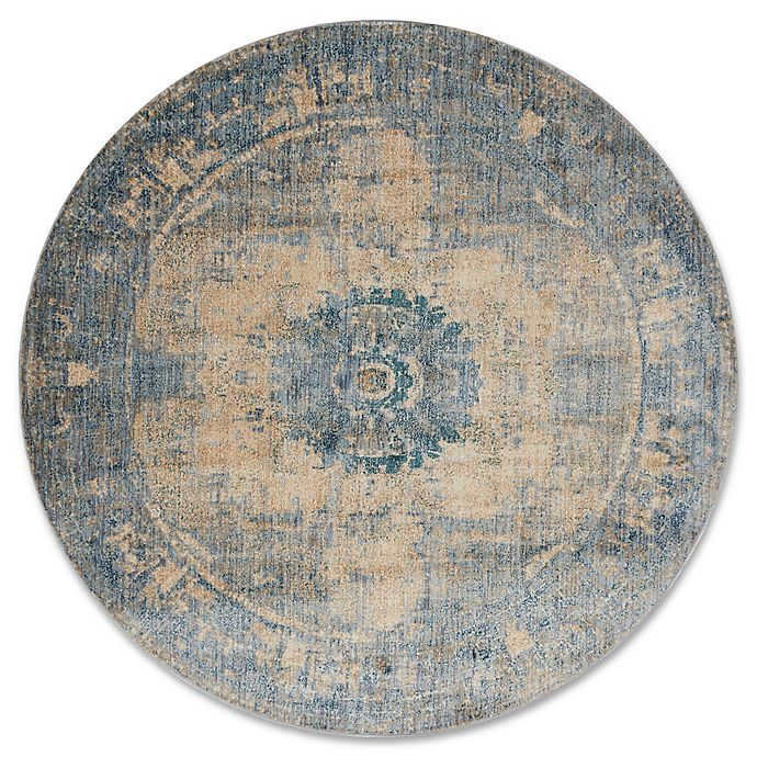 Alternate image 1 for Magnolia Home By Joanna Gaines Kivi 5-Foot 3-Inch Round Area Rug in Sand/Sky