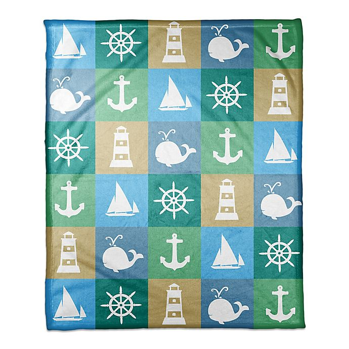 Alternate image 1 for Designs Direct First Mate Collection Nautical Squares Blanket in Blue