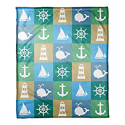 Designs Direct First Mate Collection Nautical Squares Blanket in Blue