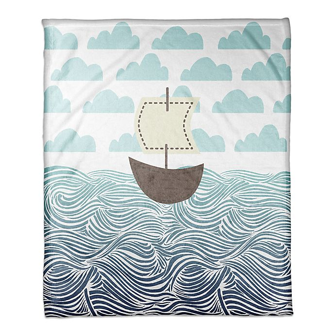 Alternate image 1 for Designs Direct First Mate Collection Sailboat Blanket in Blue