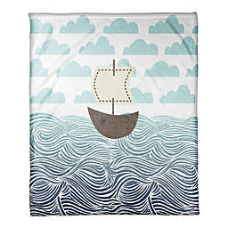 Designs Direct First Mate Collection Sailboat Blanket in Blue