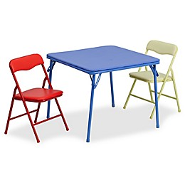 Flash Furniture Kids Colorful 3-Piece Folding Table and Chair Set