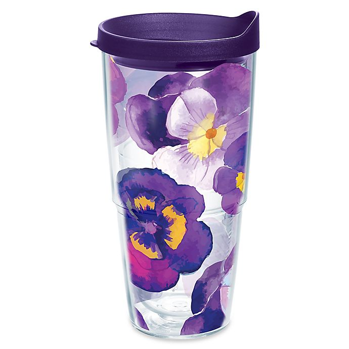 Alternate image 1 for Tervis® Watercolor Pansy 24 oz. Wrap Tumbler with Lid