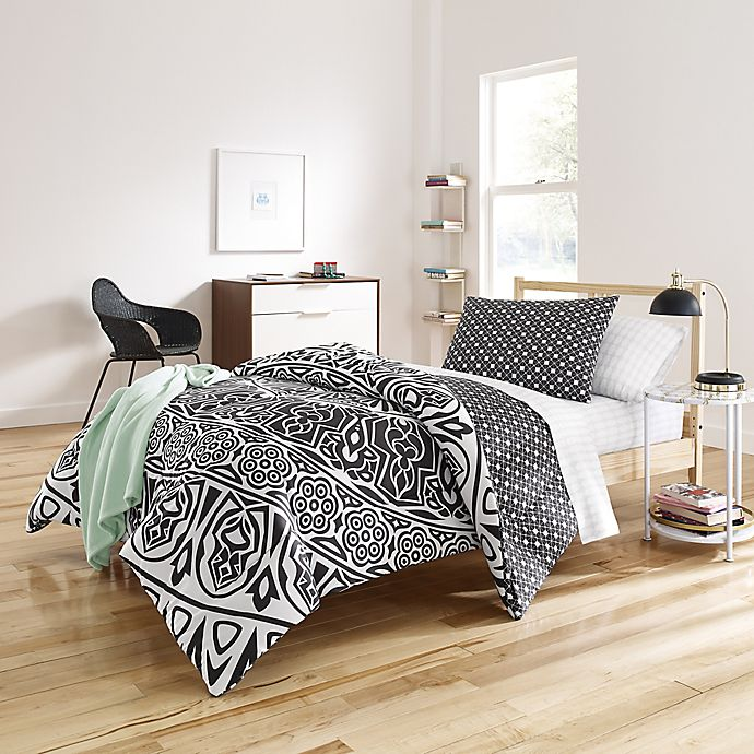 Alternate image 1 for Shembel 6-Piece Reversible Twin/Twin XL Comforter Set in Black/White