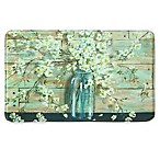 Bacova 22-Inch x 35-Inch Blossoms in a Jar Memory Foam Kitchen Rectangular Rug in Blue/Ivory