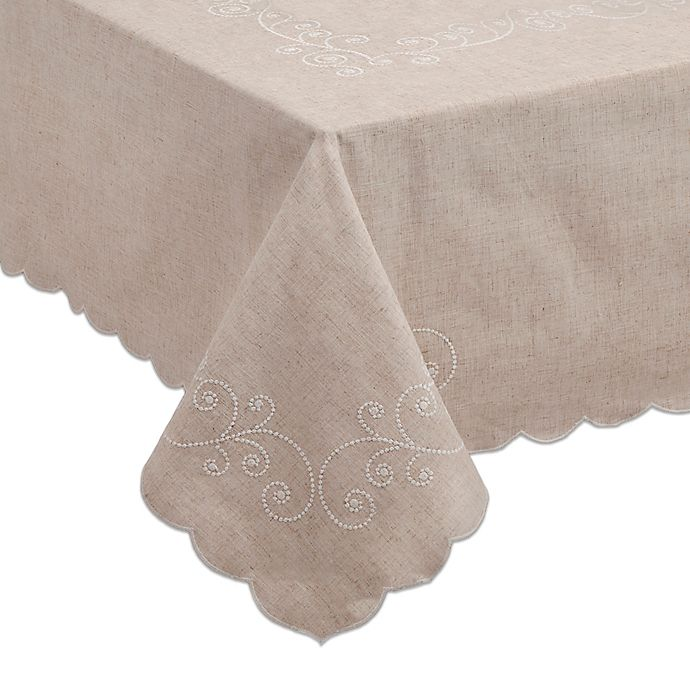 Alternate image 1 for Lenox® French Perle 52-Inch x 70-Inch Oblong Tablecloth in Linen