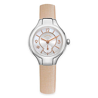 Philip Stein Ladies' 28mm Mini Round Mother of Pearl Watch in Stainless Steel with Leather Strap