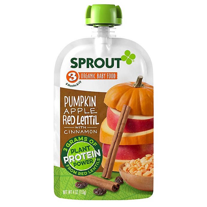 Alternate image 1 for Sprout® 4 oz. Stage 3 Organic Baby Food in Pumpkin, Apple, Red Lentil and Cinnamon