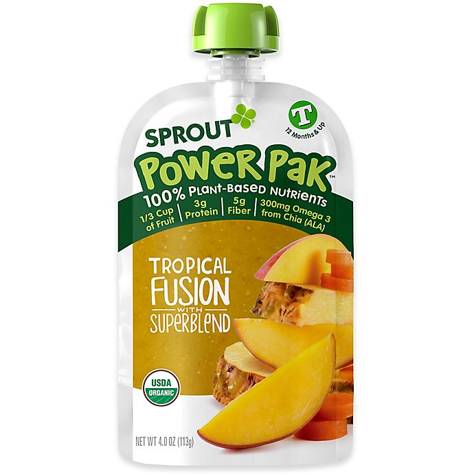 Alternate image 1 for Sprout® Power Pak 4 oz. Organic Toddler Food in Tropical Fusion Superblend