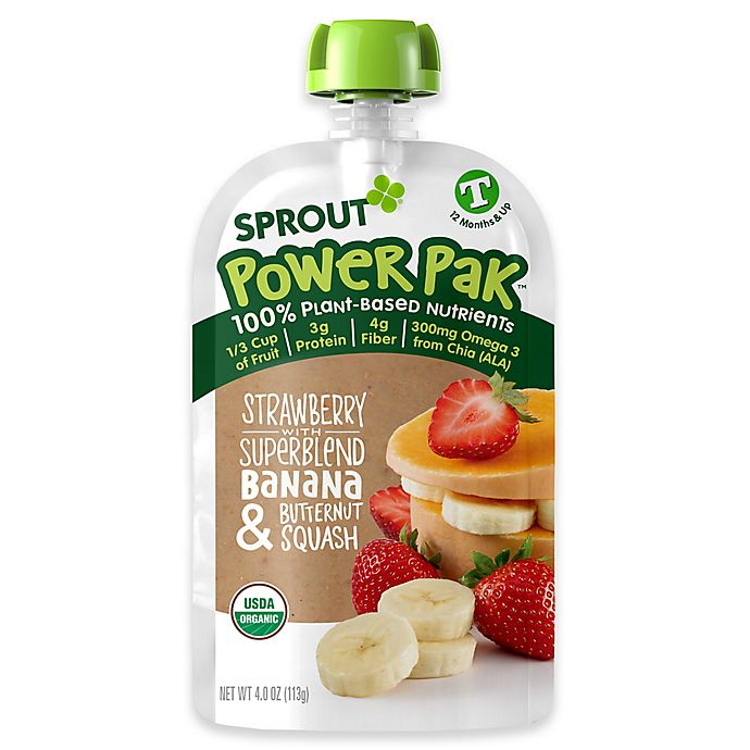 Alternate image 1 for Sprout Power Pak 4 oz. Organic Toddler Food in Strawberry, Banana and Butternut Squash Superblend