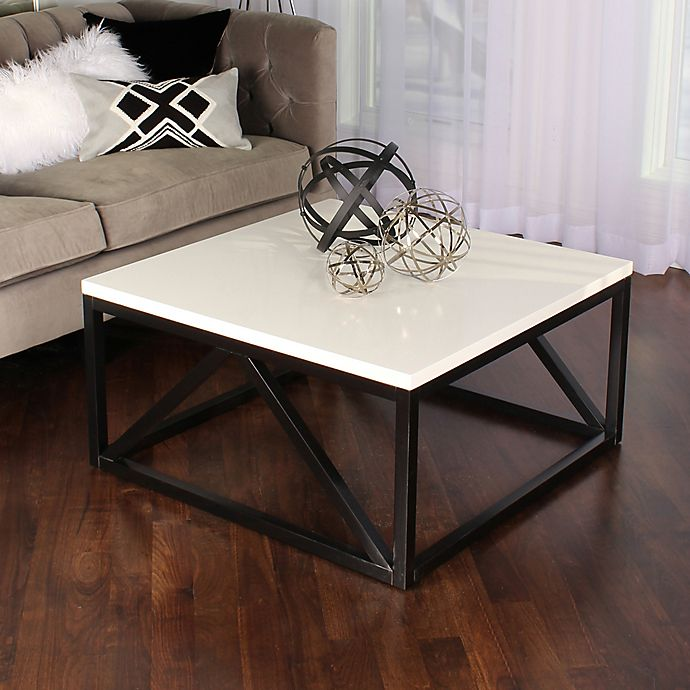 Alternate image 1 for Kate And Laurel Kaya Square Coffee Table in White/Black
