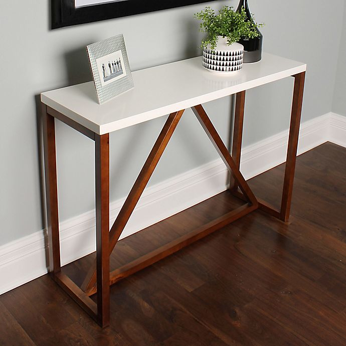Alternate image 1 for Kate and Laurel Kaya Console Table in White/Walnut