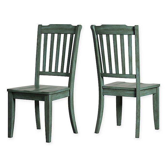 Alternate image 1 for iNSPIRE Q® Marigold Hill Slat Back Chairs in Deep Aqua (Set of 2)