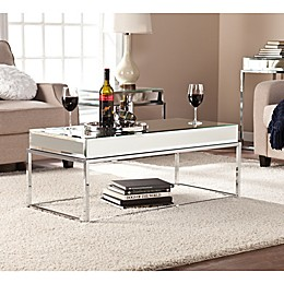 Southern Enterprises Dana Mirrored Cocktail Table in Silver